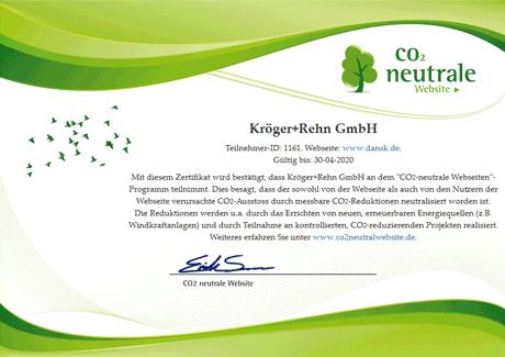 co2neutrale Website Zertifikat