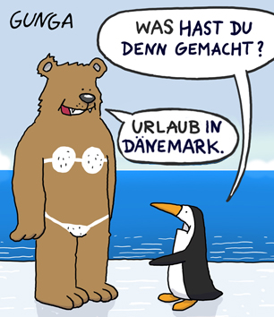 Gunga Cartoon: Urlaub in Dänemark
