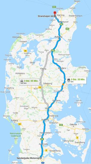 Route von der Grenze nach Lønstrup